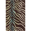 Hand-tufted Brown/Blue Zebra Animal Print Dakla Rug (9&#39; x 13&#39;)