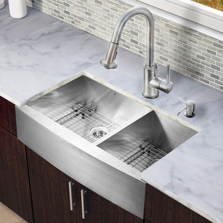 Vigo All-in-one 36-inch Farmhouse Stainless Steel Double Bowl Kitchen Sink and Faucet Set