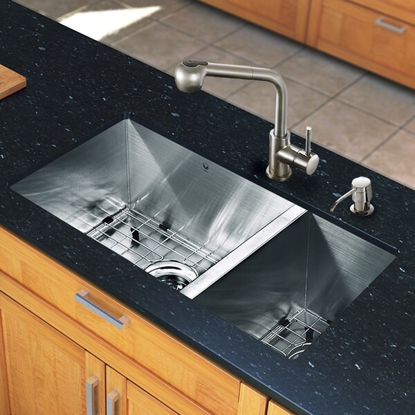 Vigo All-in-one 29-inch Undermount Stainless Steel Double Bowl Kitchen Sink and Faucet Set