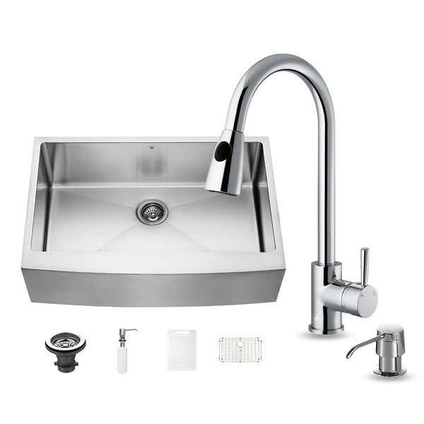 33 Inch Stainless Steel Farmhouse Sink : Vigo All-in-one 33-inch Farmhouse Stainless Steel Kitchen Sink and ...