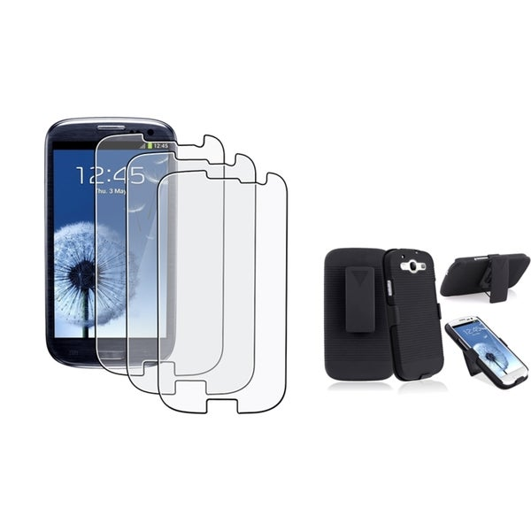 INSTEN Phone Case Cover With Holster/ Anti-glare LCD Protector for Samsung Galaxy S3/ SIII