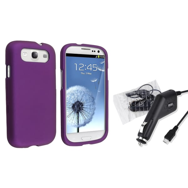 BasAcc Purple Case/ Car Charger for Samsung Galaxy S3/ SIII i9300