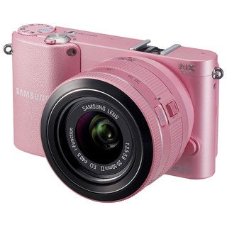 Samsung NX1000 20.3MP Mirrorless Pink Digital SLR Camera with 20-50mm Lens