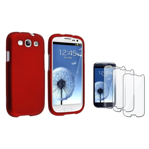 INSTEN Red Phone Case Cover/ Screen Protector for Samsung Galaxy S3/ SIII i9300