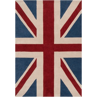 Hand-tufted Afligem Brick Red Union Jack Rug (9' x 13')