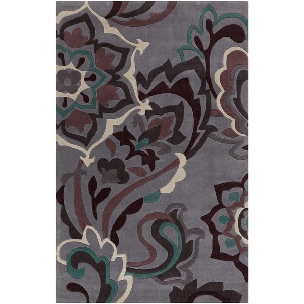 Hand-tufted Anderlues Dark Grey Floral Rug (5' x 8')