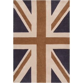 Hand-tufted Afligem1 Dark Blue Union Jack Rug (2' x 3')