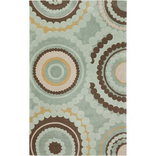 Hand-tufted Larbaa Sage Green Geometric Medallion Rug (9' x 13')
