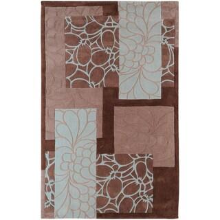 Hand-tufted Midelt Grey Floral Squares Rug (9' x 13')