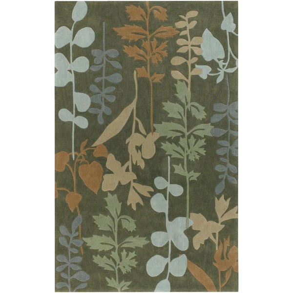 Hand-tufted Nama Dark Olive Green Rug (9' x 13')