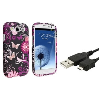 BasAcc Pink Butterfly Case/ USB Cable for Samsung Galaxy S3/ SIII
