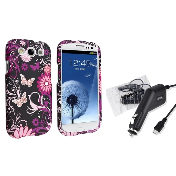 INSTEN Pink Butterfly Case Cover/ Car Charger for Samsung Galaxy S3/ SIII