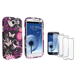INSTEN Pink Butterfly Phone Case Cover/ LCD Protector for Samsung Galaxy S3/ SIII