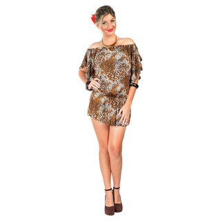 Off the Shoulder Feline Animal Print Coverup Tunic Short Dress (Indonesia)