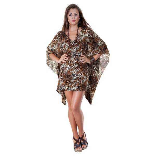 V-Neck Animal Print Tunic Poncho Coverup (Indonesia)