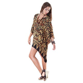 V-Neck Abstract Black and Gold Print Tunic Poncho Coverup (Indonesia)