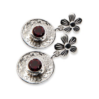 Handcrafted Sterling Silver Faceted Garnet Post Earrings (India)
