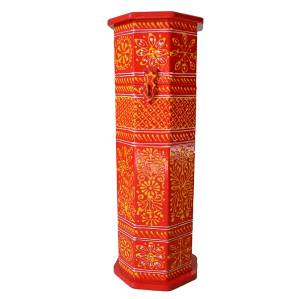 Handcrafted Rosewood Painted Wine Gift Box (India)