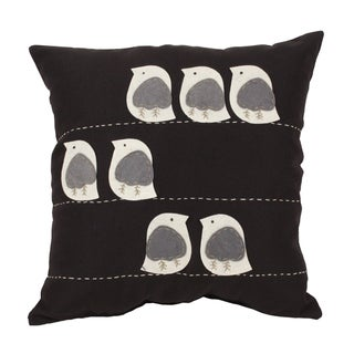 Felt Birds Black 18-inch Throw Pillow