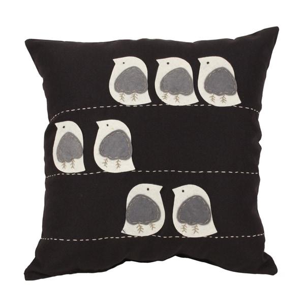 Felt Birds Black 18-inch Throw Pillow