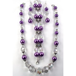 Silverplated Lilac Faux Pearl and Crystal Jewelry Set