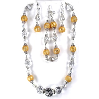 Silverplated Golden Faux Pearl and Crystal Jewelry Set
