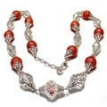 Silverplated Tangerine Faux Pearl and Crystal Jewelry Set