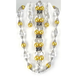 Silverplated Yellow Faux Pearl and Lucite Jewelry Set