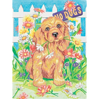 Pencil Works Color By Number Kit 9X12in-Naughty Puppy