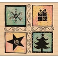 "Penny Black Mounted Rubber Stamp 3.5""X3.5""-Christmas Square"