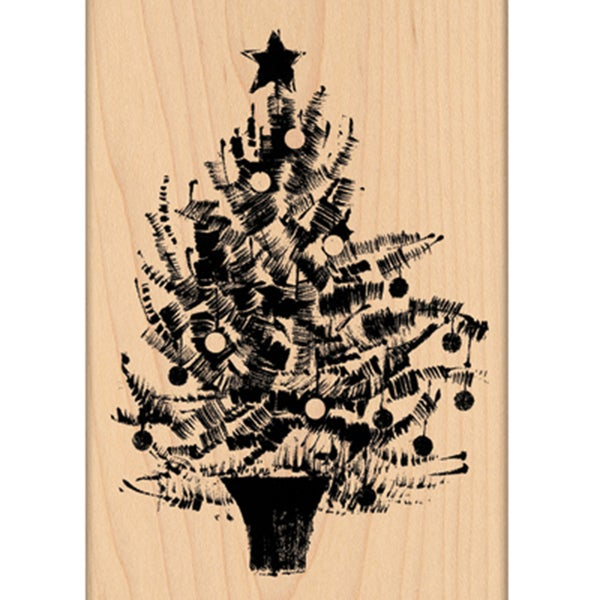 """Penny Black Mounted Rubber Stamp 3.5""""X5""""-Festive Tree"""
