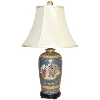 Blue Satsuma Famille Porcelain Table Lamp
