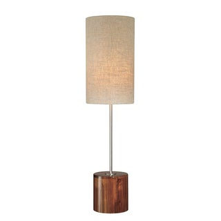 Linen Shade with Wood Base Table Lamp