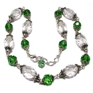 Silverplated Green Crystal and Lucite Jewelry Set