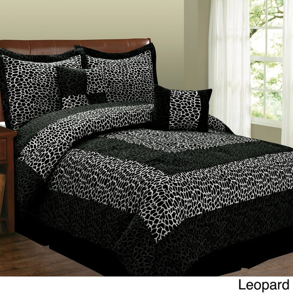 Fashion Street Animal Print 6-piece Micro Suede Comforter Set