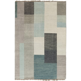 Hand-knotted Xico Green Wool Geometric Rug (2' x 3')
