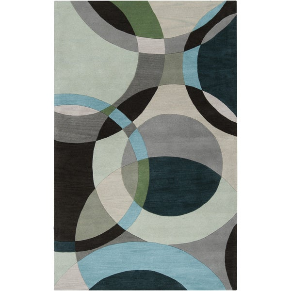 Hand Tufted Balen Hunter Green Geometric Circles Wool Rug