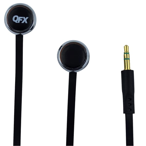 QFX H-102 Stereo Flat Cable Black Earbuds