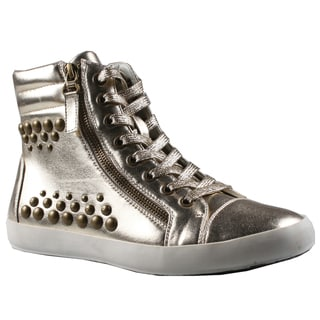 Refresh by Beston Women's 'Melba' Gold High Top Studded Sneakers