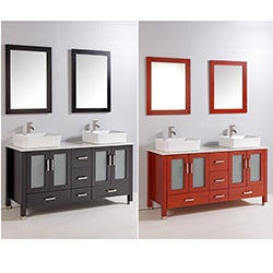 59-inch Double Ceramic Sink Bathroom Vanity Set