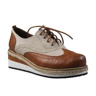 Refresh by Beston Women's 'Mona' Espadrille Edge Oxford Shoes
