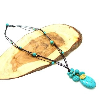 Crowned Oval Turquoise Stone Multi Strand Necklace (Thailand)