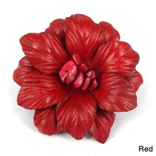 Floral Secrets Leather Embossed 2 in 1 Hairpin or Brooch (Thailand)