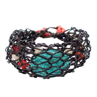 Unique Turquoise Oval Weaved Net Bracelet (Thailand)