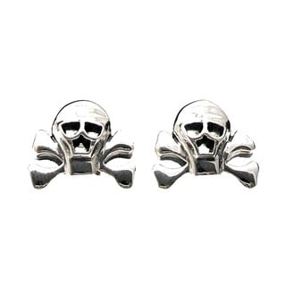 Pirate Skull Danger Sterling Silver Stud Earrings (Thailand)