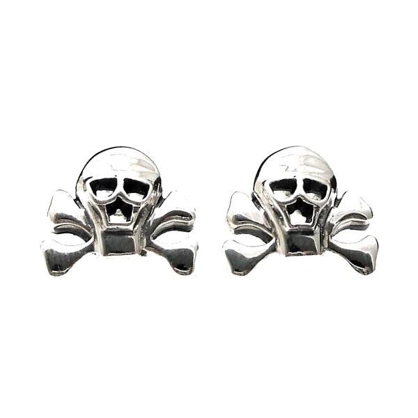 Pirate Skull Danger Sterling Silver Stud Earrings (Thailand)