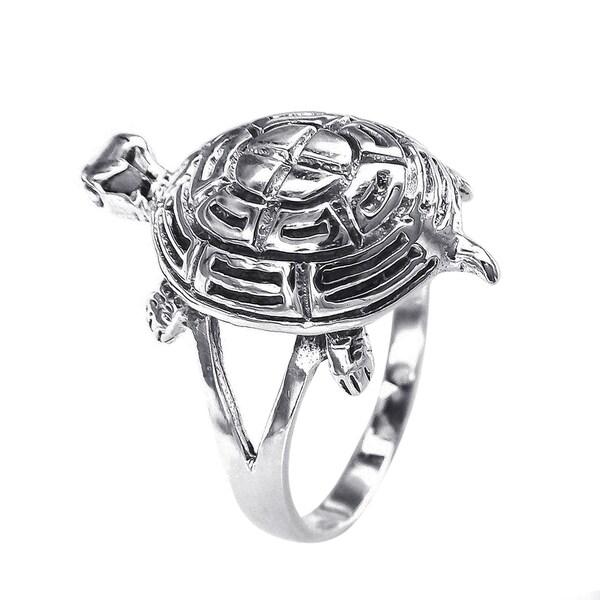 Cute Turtle Sea Life Silver Ring (Thailand)
