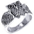 Awake Owl Spread Wings Silver Ring (Thailand)