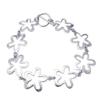 Trendy Retro Flower Link Silver Toggle Bracelet (Thailand)