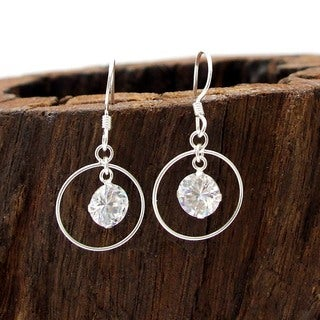 Beautiful Hoop with White CZ Silver Dangle Earrings (Thailand)
